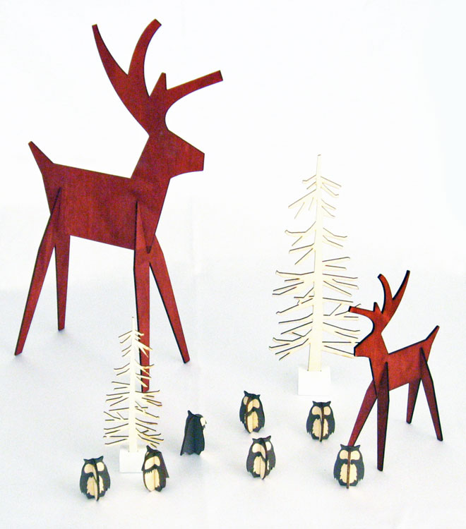 Red Reindeer Wood Cutouts | Contemporary Winter Holiday Season Decor