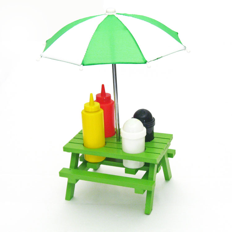 Wood Picnic Table With Umbrella Condiment Set  Summer Cookout Party