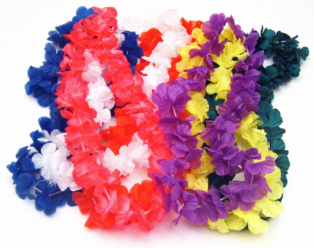 Hawaiian Silk Flower Leis   Luau Party Decoration Packages