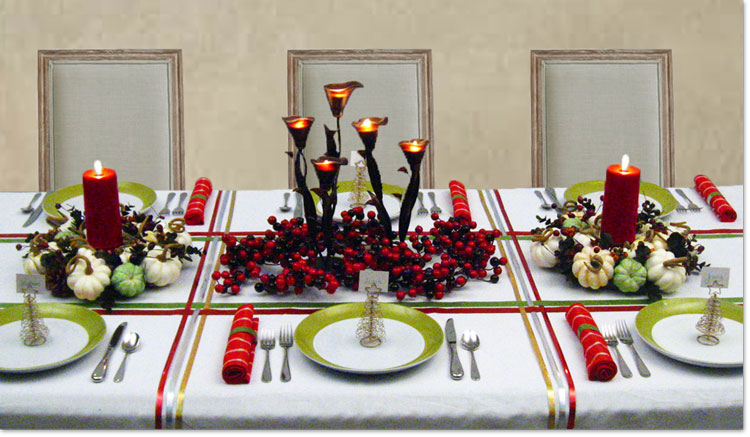 Formal dinner table setting ideas - Holiday Dinner Table Decorating Christmas Centerpieces